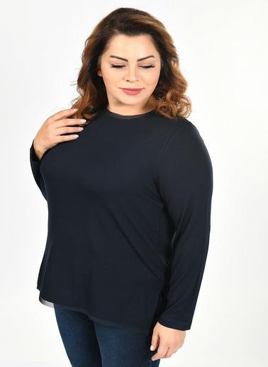 Optique Knitwear Düz Kayık Yaka Uzun Kol Viskon Bluz Lacivert